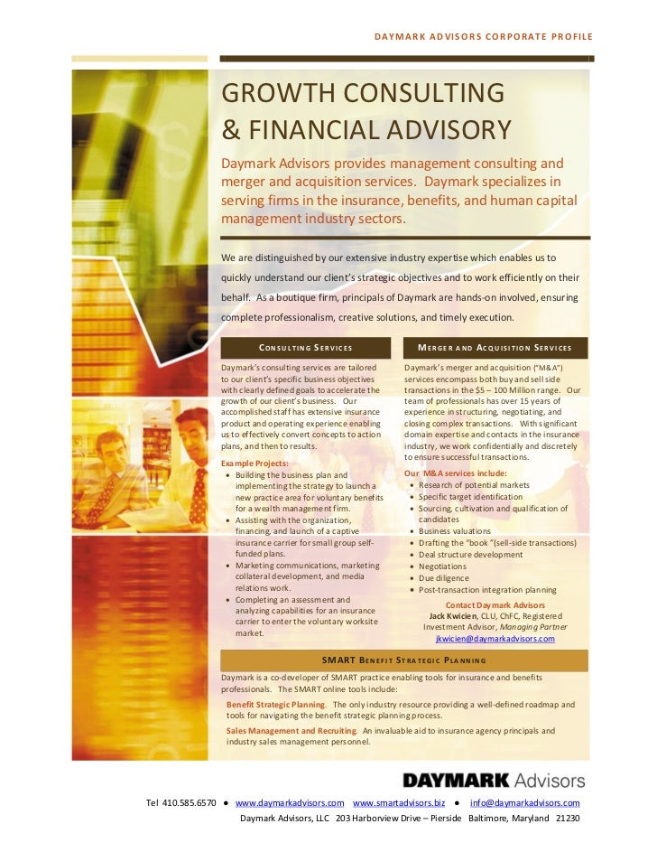DAYMARK AD VISORS CORPO RATE PRO FILE               GROWTH CONSULTING               & FINANCIAL ADVISORY               Day...