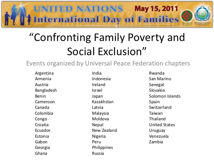 """Confronting Family Poverty and Social Exclusion""<br />Events organized by Universal Peace Federation chapters<br />Argent..."