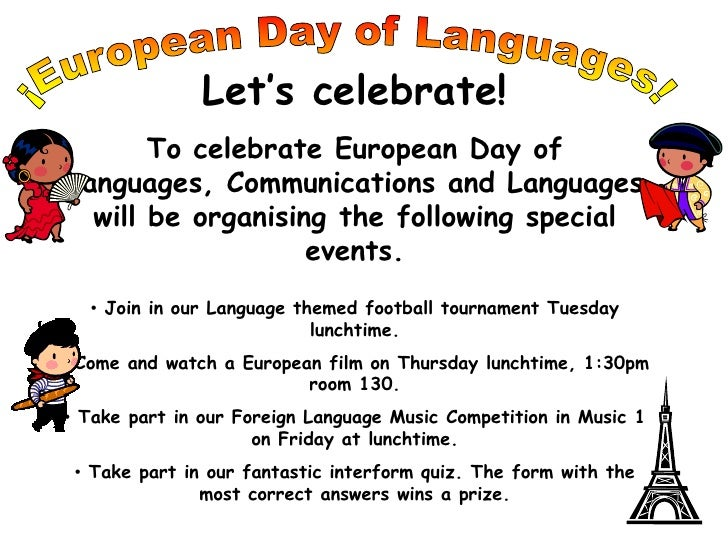 ¡European Day of Languages!<br />Let's celebrate!<br />To celebrate European Day of Languages, Communications and Language...