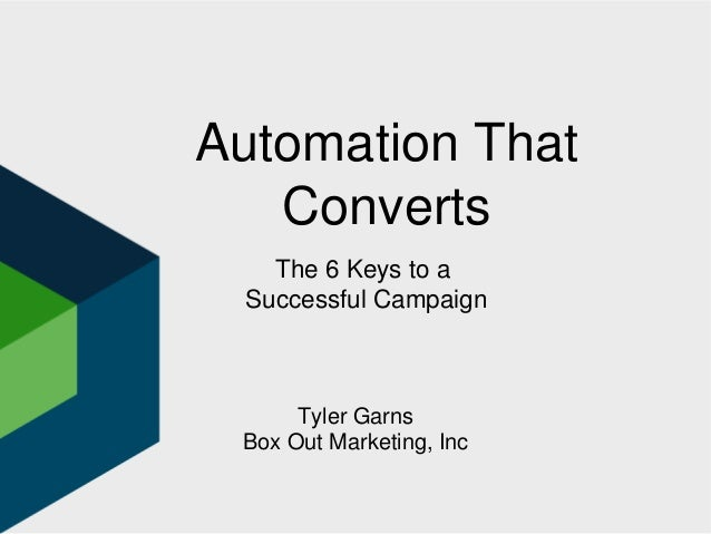 Automation That Converts Tyler Garns Box Out Marketing, Inc The 6 Keys to a Successful Campaign
