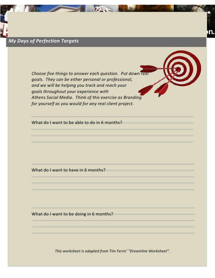 My Days of Perfection Targets08Fall<br />3543300-142875<br />Choose five things to answer each question.  Put down real go...