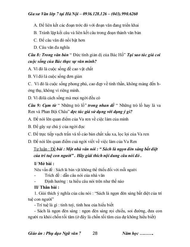 Gia sư Văn lớp 7 tại Hà Nội – 0936.128.126 – (043).990.6260 A. Để liên kết các đoạn trớc đó với đoạn văn đang triển khai B...