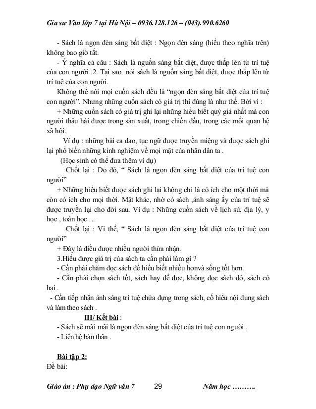 Gia sư Văn lớp 7 tại Hà Nội – 0936.128.126 – (043).990.6260 - Sách là ngọn đèn sáng bất diệt : Ngọn đèn sáng (hiểu theo ng...
