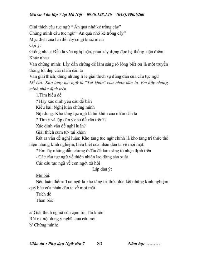 """Gia sư Văn lớp 7 tại Hà Nội – 0936.128.126 – (043).990.6260 Giải thích câu tục ngữ """" Ăn quả nhớ kẻ trồng cây"""" Chứng minh c..."""