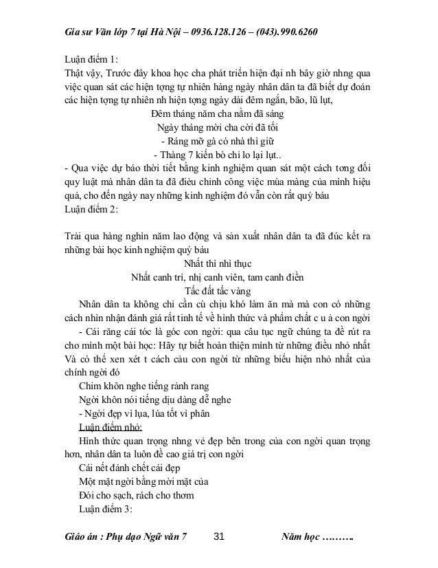 Gia sư Văn lớp 7 tại Hà Nội – 0936.128.126 – (043).990.6260 Luận điểm 1: Thật vậy, Trước đây khoa học cha phát triển hiện ...
