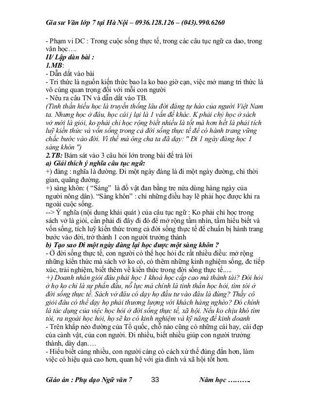 Gia sư Văn lớp 7 tại Hà Nội – 0936.128.126 – (043).990.6260 - Phạm vi DC : Trong cuộc sống thực tế, trong các câu tục ngữ ...