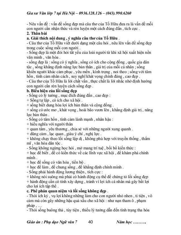 Gia sư Văn lớp 7 tại Hà Nội – 0936.128.126 – (043).990.6260 - Nêu vấn đề : vấn đề sống đẹp mà câu thơ của Tố Hữu đưa ra là...
