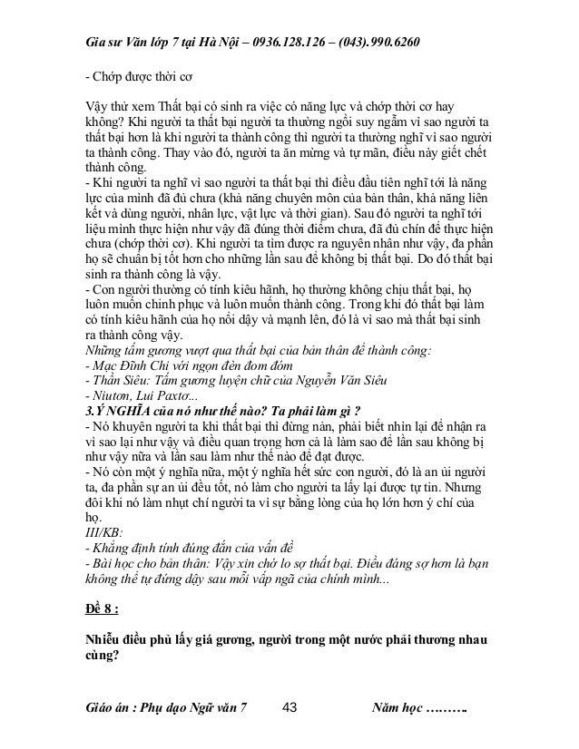 Gia sư Văn lớp 7 tại Hà Nội – 0936.128.126 – (043).990.6260 - Chớp được thời cơ Vậy thử xem Thất bại có sinh ra việc có nă...
