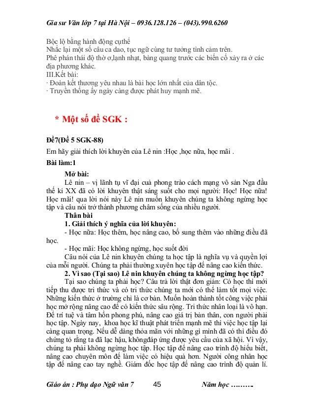 Gia sư Văn lớp 7 tại Hà Nội – 0936.128.126 – (043).990.6260 Bộc lộ bằng hành động cụthể Nhắc lại một số câu ca dao, tục ng...