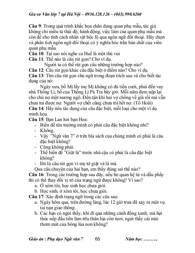 Giáo án dạy phụ đạo môn Ngữ Văn lớp 7