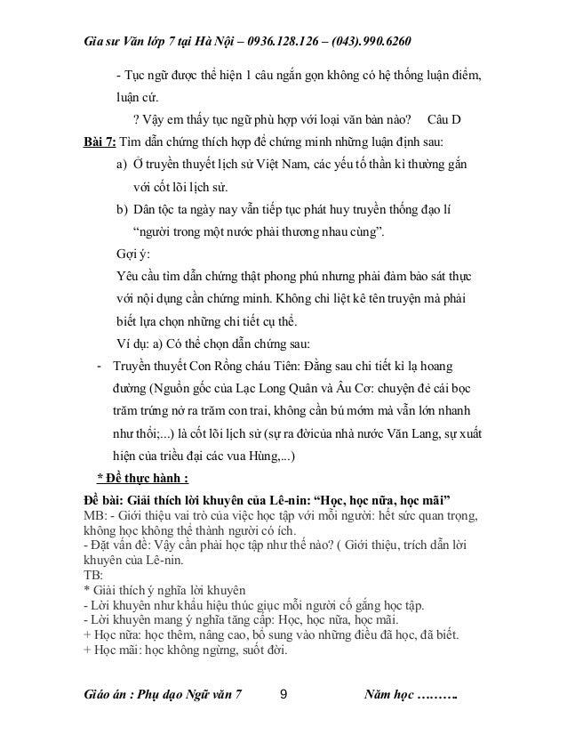 Gia sư Văn lớp 7 tại Hà Nội – 0936.128.126 – (043).990.6260 - Tục ngữ được thể hiện 1 câu ngắn gọn không có hệ thống luận ...