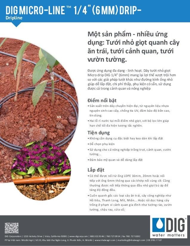"""Một sản phẩm - nhiều ứng dụng: Tưới nhỏ giọt quanh cây ăn trái, tưới cảnh quan, tưới vườn tường. DIGmicro-line™ 1/4""""(6mm)d..."""