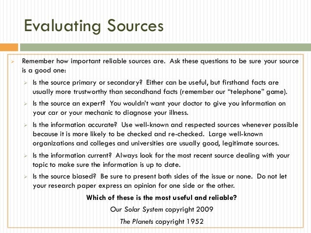 Sourcing for research papers