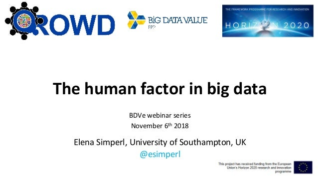 The human factor in big data BDVe webinar series November 6th 2018 Elena Simperl, University of Southampton, UK @esimperl