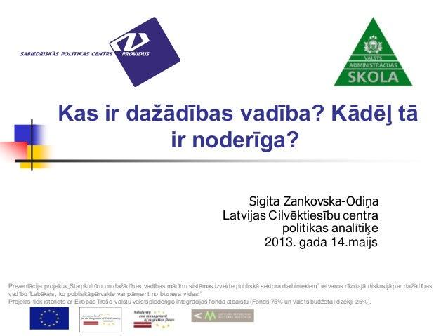 Kas ir dažādības vadība? Kādēļ tāir noderīga?Sigita Zankovska-OdiņaLatvijas Cilvēktiesību centrapolitikas analītiķe2013. g...
