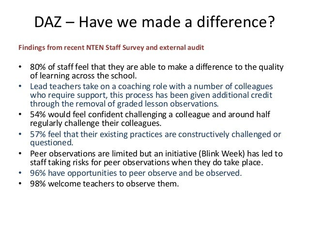 DAZ – Have we made a difference? Findings from recent NTEN Staff Survey and external audit • 80% of staff feel that they a...