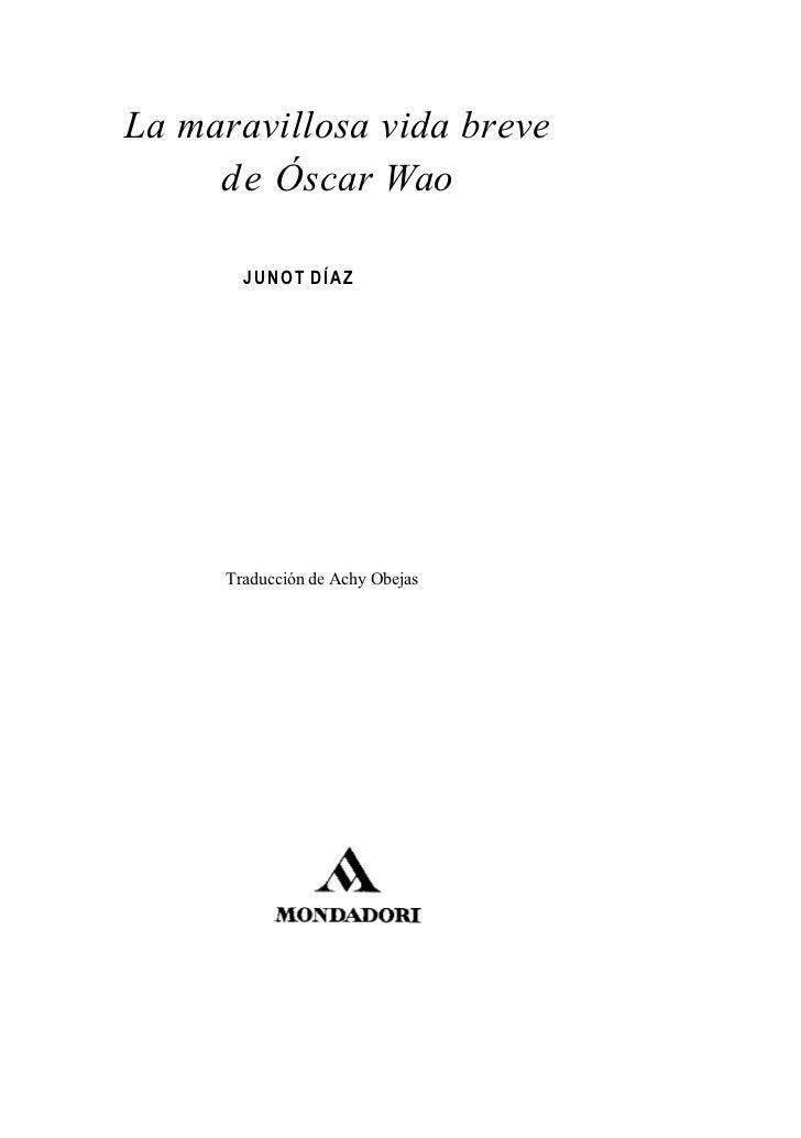 A Fantastica Vida Breve De Oscar Wao Pdf