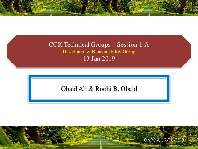 CCK Technical Groups – Session 1-A Dissolution & Bioavailability Group 13 Jan 2019 Obaid Ali & Roohi B. Obaid