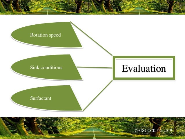 Rotation speed Sink conditions Surfactant Evaluation