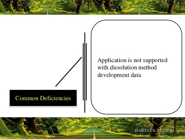 Application is not supported with dissolution method development data Common Deficiencies