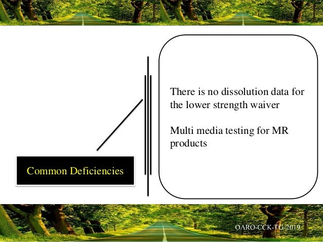 There is no dissolution data for the lower strength waiver Multi media testing for MR products Common Deficiencies