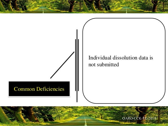 Individual dissolution data is not submitted Common Deficiencies