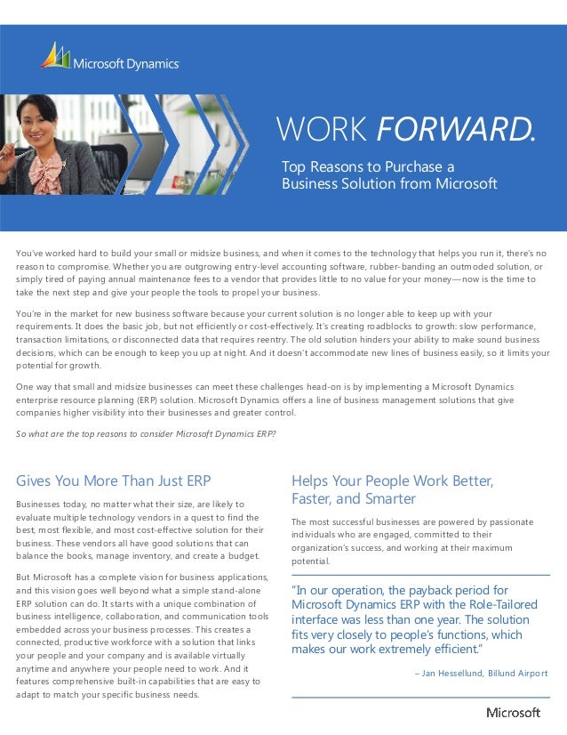 WORK FORWARD.                                                                  Top Reasons to Purchase a                  ...