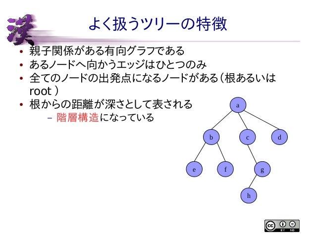 よく扱うツリーの特徴 ● ● ●  ●  親子関係がある有向グラフである あるノードへ向かうエッジはひとつのみ 全てのノードの出発点になるノードがある(根あるいは root ) a 根からの距離が深さとして表される –  階層構造になっている ...