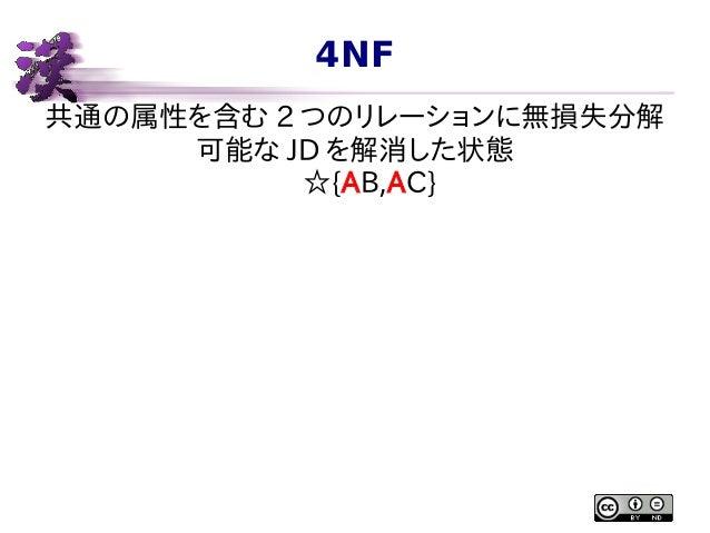 4NF 共通の属性を含む 2 つのリレーションに無損失分解 可能な JD を解消した状態 ☆{AB,AC}