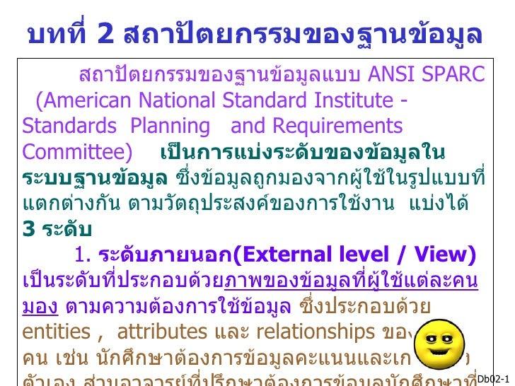 บทที่ 2 สถาปัตยกรรมของฐานข้อมูล       สถาปัตยกรรมของฐานข้อมูลแบบ ANSI SPARC (American National Standard Institute -Standar...