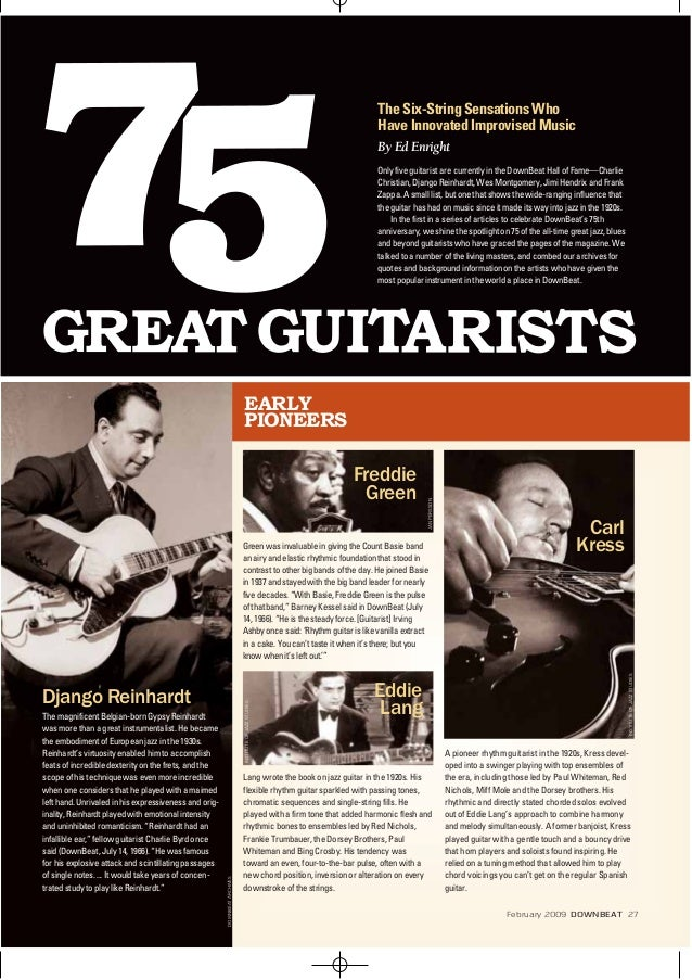 EARLY PIONEERS Lang wrote the book on jazz guitar in the 1920s.