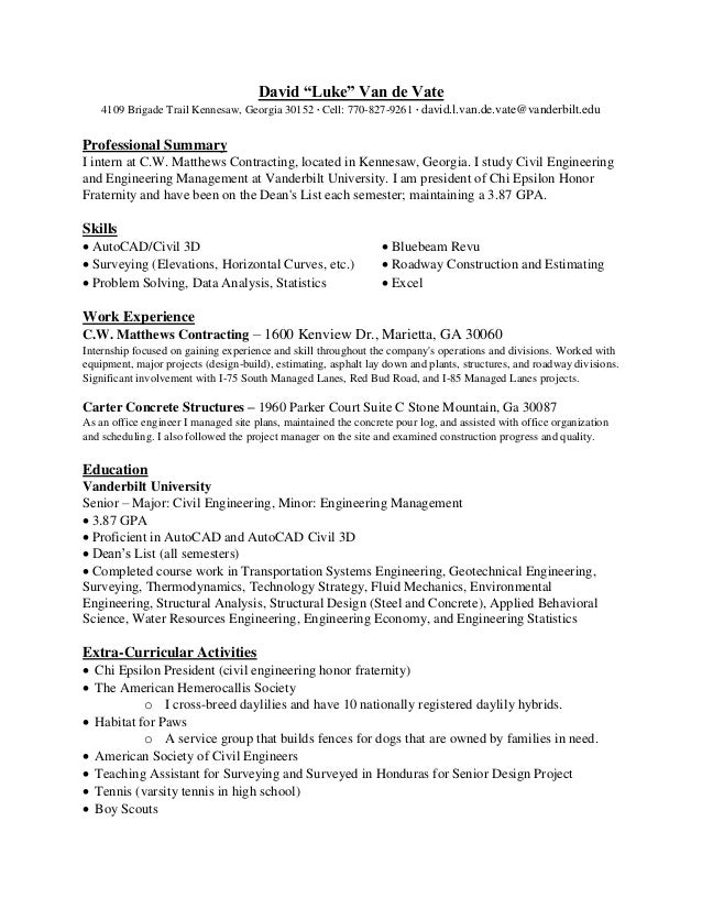 Resume D.L.Van de Vate - Fall 2016