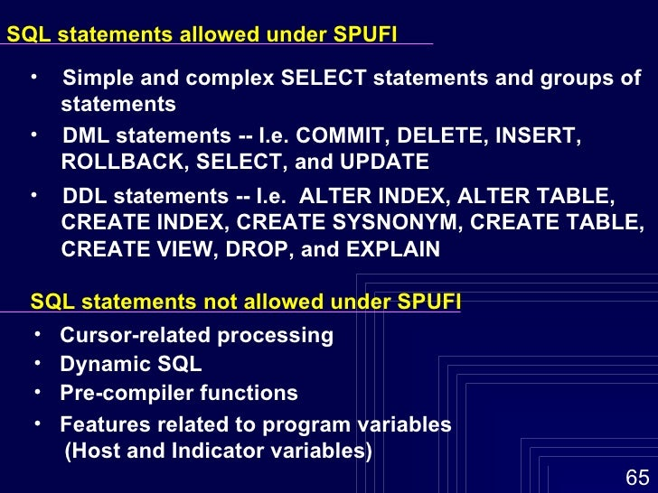 PLAN_TABLE evolution >Explain only shows SELECT, DELETE, UPDATE, INSERT  >Important not