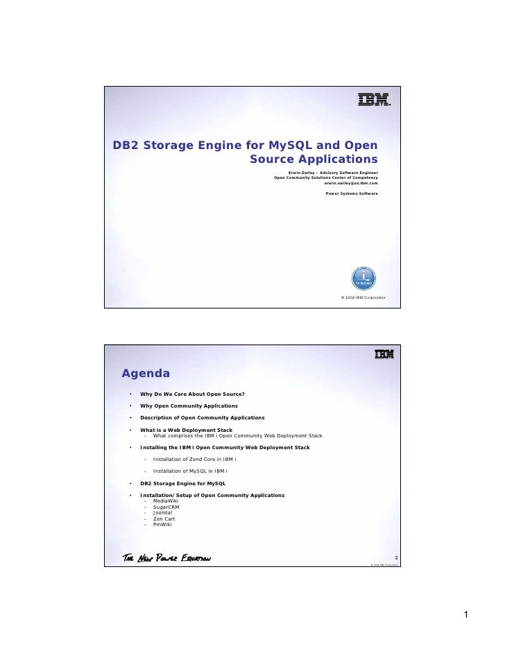 DB2 Storage Engine for MySQL and Open                     Source Applications                                             ...