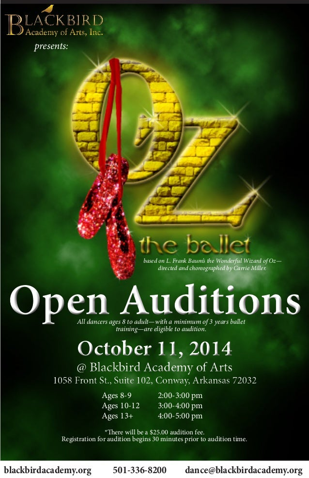 Presents Open AuditionsOpen Auditions October 11 2014 Blackbird Academy Of Arts 1058 Front