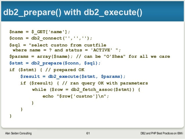 DB2 and PHP in Depth on IBM i (tutorial at ZendCon 2015)