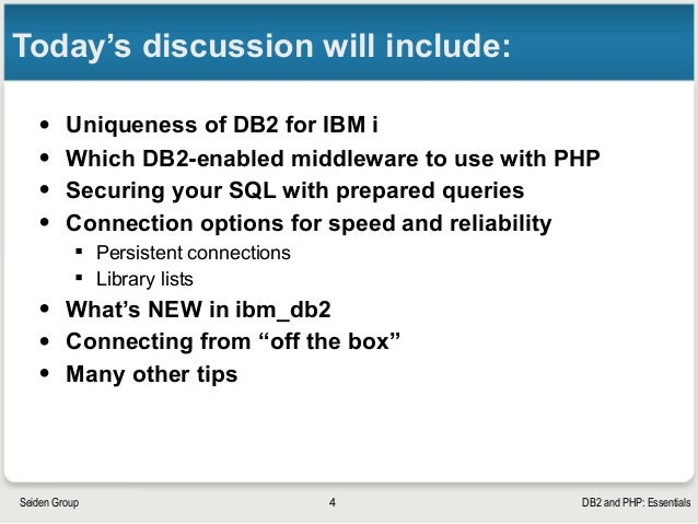 DB2 and PHP in Depth on IBM i