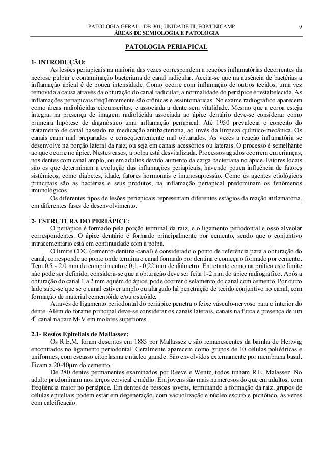 PATOLOGIA GERAL - DB-301, UNIDADE III, FOP/UNICAMP ÁREAS DE SEMIOLOGIA E PATOLOGIA  9  PATOLOGIA PERIAPICAL 1- INTRODUÇÃO:...