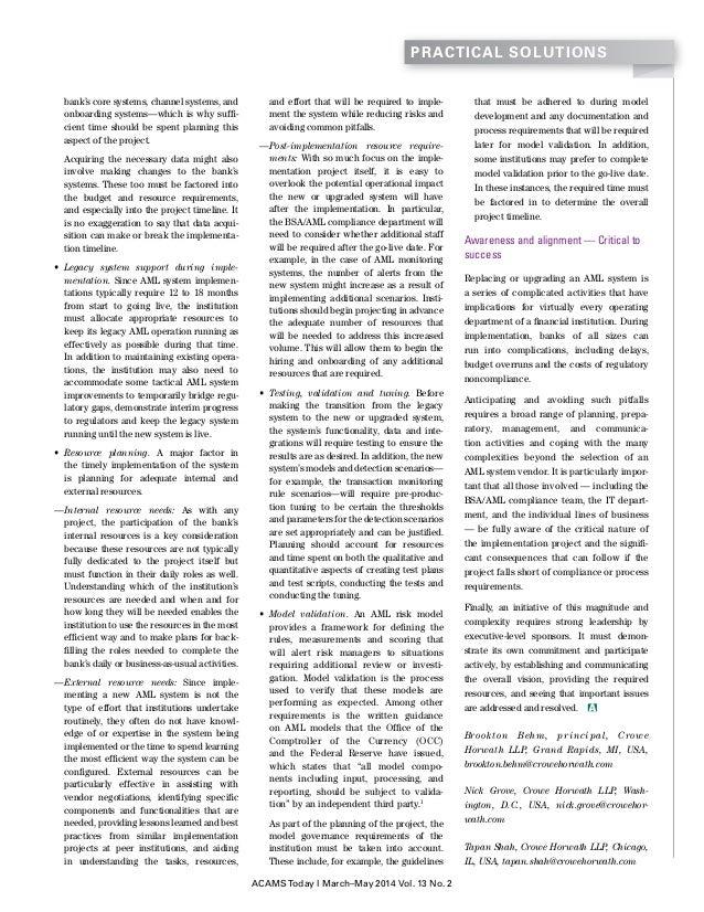 Crowe-ACAMS AML System Planning