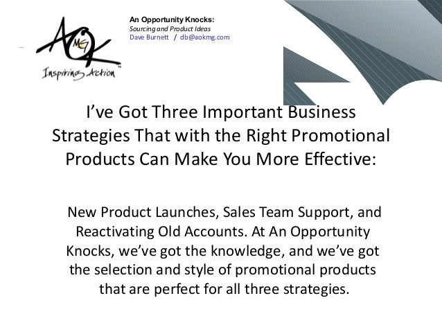 I've Got Three Important BusinessStrategies That with the Right PromotionalProducts Can Make You More Effective:New Produc...