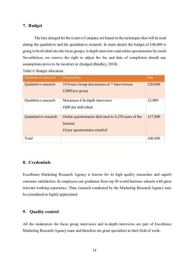 Market Research Proposal for Lenovo