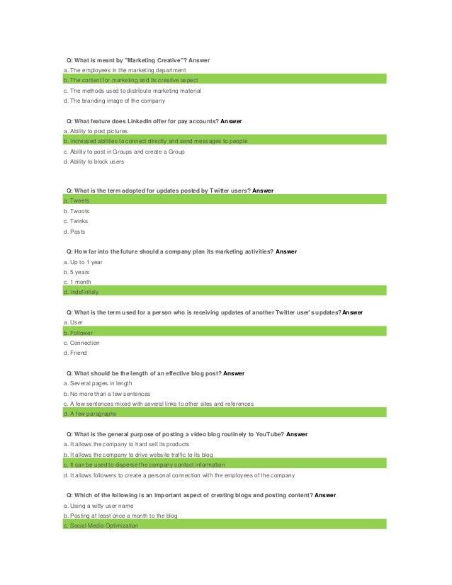 Social Media Marketing Test Answers Upwork _oDesk_ slideshare - 웹