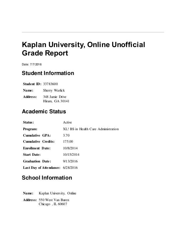 Kaplan University unofficial grade report