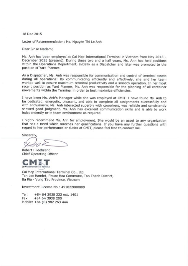 employer reference letter