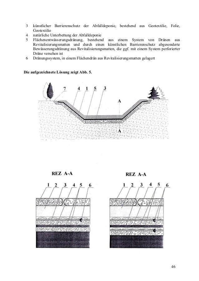 46 3 künstlicher Barrierenschutz der Abfalldeponie, bestehend aus Geotextilie, Folie, Geotextilie 4 natürliche Unterbettun...