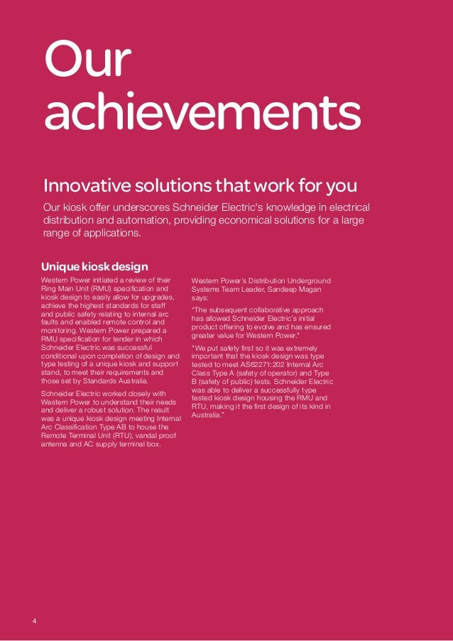 Our achievements Innovativesolutionsthat work foryou Our kiosk offer underscores Schneider Electric's knowledge in electri...