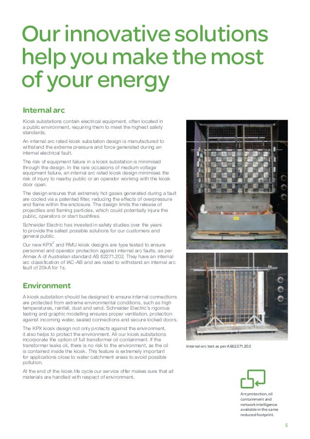 Ourinnovative solutions helpyoumake the most ofyourenergy Internalarc Kiosk substations contain electrical equipment, ofte...