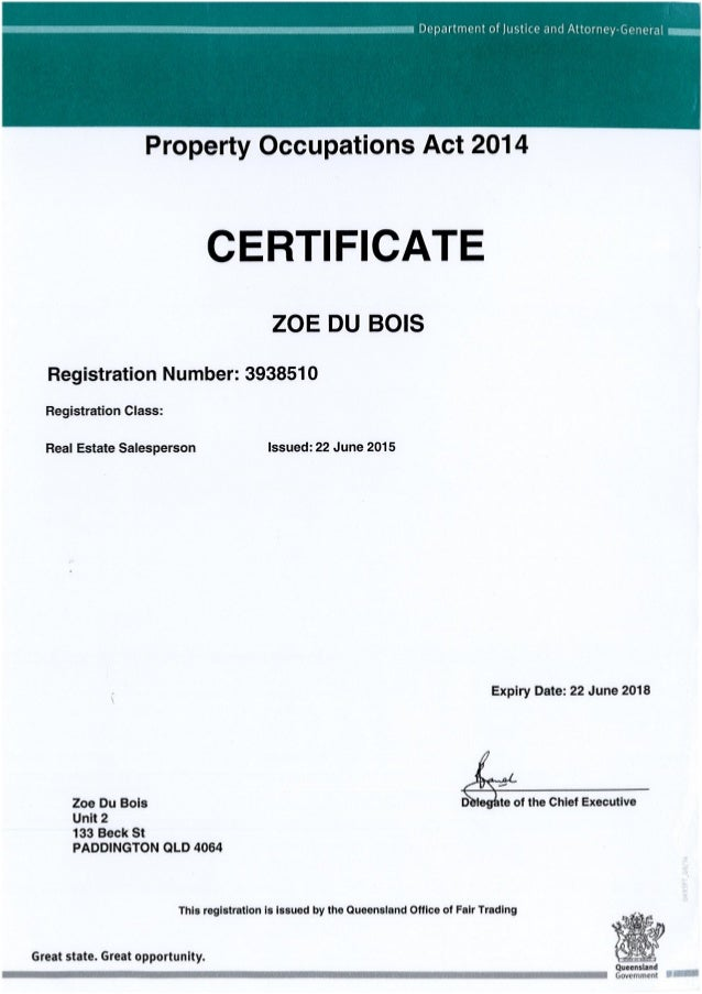 Property Occupations Act 2014 Sales Certificate Exp 22jun18