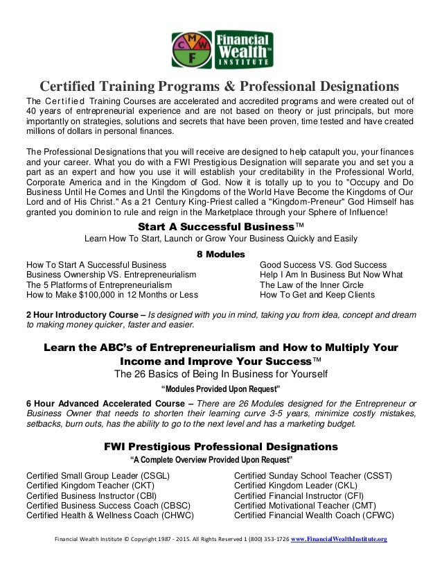Fwi Certification Programs And Training 1