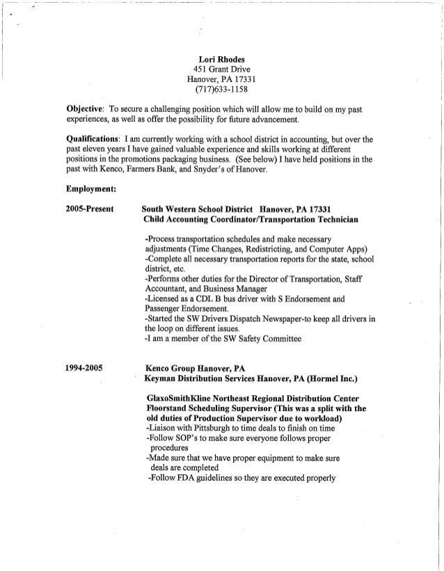 Lori Rhodes' Resume